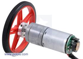 25D mm metal gear motor with 48 CPR encoder and Pololu 60x8mm wheel