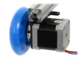 A stepper motor connected to a scooter wheel by the 5 mm scooter wheel adapter