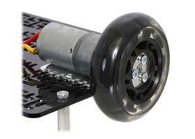 A 25D mm gearmotor connected to a scooter wheel by the 4 mm scooter wheel adapter