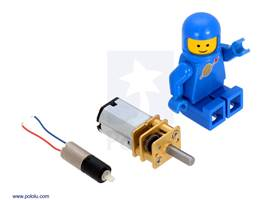 26:1 sub-micro plastic planetary gearmotor next to a micro metal gearmotor and a LEGO Minifigure for size reference
