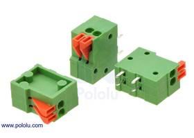 Screwless terminal blocks: 2-pin, 0.1″ pitch, side entry