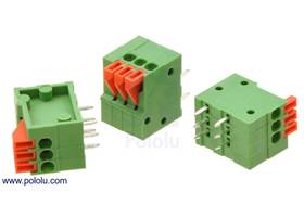 Screwless terminal blocks: 3-pin, 0.1″ pitch, side entry
