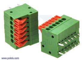 Screwless terminal blocks: 6-pin, 0.1″ pitch, side entry