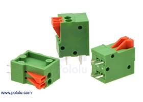 Screwless terminal blocks: 2-pin, 0.1″ pitch, top entry