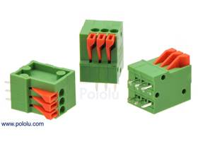 Screwless terminal blocks: 3-pin, 0.1″ pitch, top entry