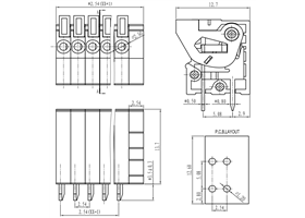 Screwless terminal block: 0.1″ pitch, top entry