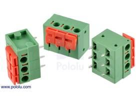 Screwless terminal blocks: 3-pin, 0.2″ pitch, side entry
