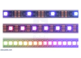 LED side of the APA102C-based addressable LED strips, showing 30 LEDs/m (top), 60 LEDs/m (middle), and 144 LEDs/m (bottom)