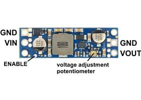 Pololu adjustable step-up voltage regulator U3V50Ax, labeled top view