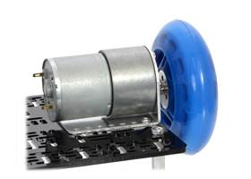 A 37D mm gearmotor connected to a scooter wheel by the 6 mm scooter wheel adapter (1)