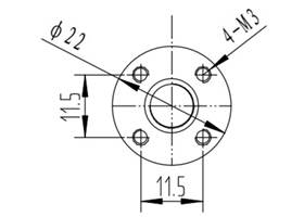 Dimension diagram for the traveling nut for TR8x8(P2) threaded rods. Units are mm
