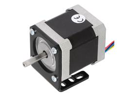 NEMA 17 stepper motor (item #1200) mounted with a Pololu stamped aluminum L-bracket for NEMA 17 stepper motors
