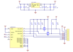Schematic diagram of the LSM6DS33 3D Accelerometer and Gyro Carrier with Voltage Regulator