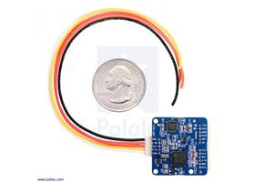 UM7-LT orientation sensor with included cable and U.S. quarter for size reference