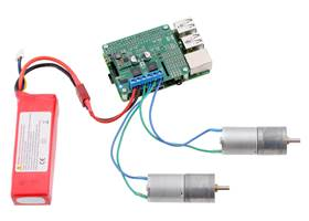 Driving motors with a #2756 dual motor driver on a on a Raspberry Pi Model B+ or Pi 2 Model B. A step-down regulator provides 5 V to the Raspberry Pi