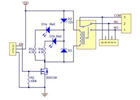 Pololu basic SPDT relay carrier with 12 VDC relay -schematic