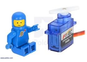 FEETECH FS90R micro continuous rotation servo with a LEGO Minifigure as a size reference