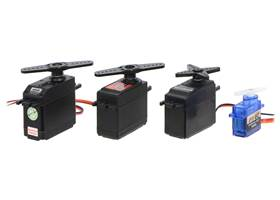 Continuous rotation servo size comparison.  From left to right: SpringRC SM-S4303R, Power HD AR-3606HB, Parallax, and FEETECH FS90R