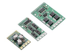 Pololu G2 High-Power Motor Driver 24v21 next to original high-power motor driver 24v20 and 24v23 CS