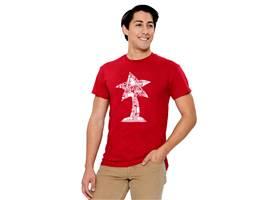 The Pololu cardinal red circuit logo T-shirt, front
