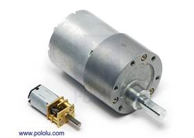 37D mm metal gearmotor next to a micro metal gearmotor for size comparison
