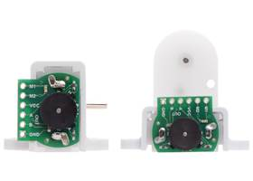The Magnetic Encoder Kit for Mini Plastic Gearmotors works with our Tall (left) and Wide (right) Mini Plastic Gearmotor Brackets. (1)