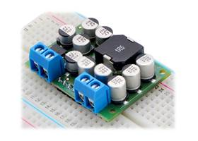 Pololu Step-Down Voltage Regulator D24V150Fx in a breadboard, assembled with terminal blocks and male headers.
