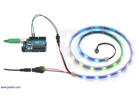 Controlling an addressable RGB LED strip with an Arduino and powering it from a 5V wall power adapter.