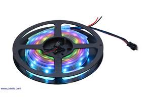 A 2-meter, 60 LED addressable RGB LED strip on the included reel.