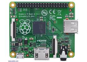 Raspberry Pi Model A+, top view.