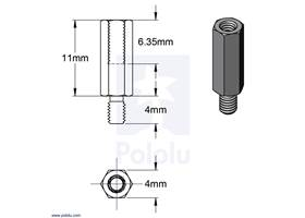 Dimensions of Aluminum Standoff for Raspberry Pi: 11mm Length, 4mm M2.5 Thread, M-F.