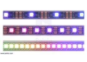 LED side of the SK9822 or APA102C addressable LED strips, showing 30 LEDs/m (top), 60 LEDs/m (middle), and 144 LEDs/m (bottom).