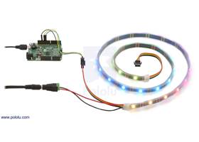 Controlling an APA102C or SK9822 addressable RGB LED strip with an A-Star 32U4 Prime SV and powering it from a 5V wall power adapter.