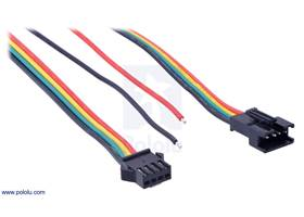 The connectors and power wires for our SK9822 and APA102C LED panels.   From left to right: output connector, auxiliary power wires, input connector.