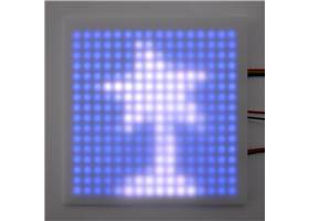 An addressable RGB 16×16-LED panel with a plastic diffuser (not included) showing the Pololu logo.