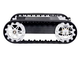 Side view of Pololu 30T track set with white sprockets mounted on a 3D-printed chassis.