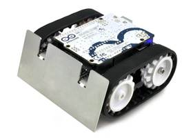 Assembled Zumo robot with a Zumo Shield, Arduino Uno, and Zumo blade