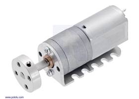 20D mm metal gearmotor with a univeral aluminum mounting hub and mounted on a 20D mm metal gearmotor bracket.