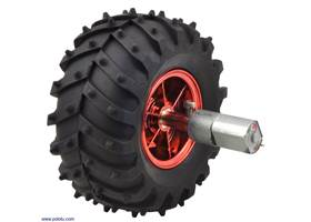 Dagu Wild Thumper wheel 120×60mm (metallic red) with Pololu 20D mm metal gearmotor.