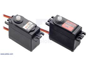 FEETECH Continuous Rotation Servo FS5106R next to the Power HD Continuous Rotation Servo AR-3606HB.
