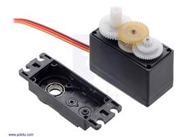 The FEETECH Standard Servo FS5103B has a plastic gear train and two ball bearings on the output.