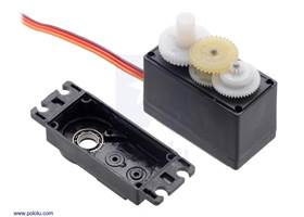 The FEETECH Standard Servo FS5106B has a plastic gear train and two ball bearings on the output.