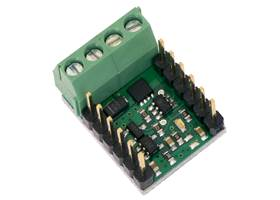 Pololu RC Switch with Medium Low-Side MOSFET with included terminal blocks and headers soldered to the component side