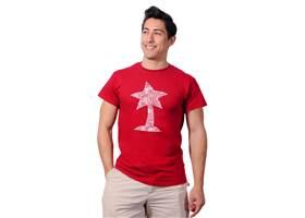 Cardinal red Pololu circuit logo T-shirt.