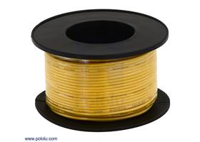 Stranded wire with yellow insulation (available in various gauges; 26 AWG spool shown)