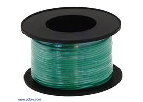 Stranded wire with green insulation (available in various gauges; 26AWG spool shown)