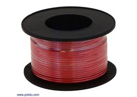 Stranded wire with red insulation (available in various gauges; 26 AWG spool shown)