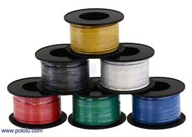 Assorted colors of stranded wire (available in various gauges; 26 AWG spools shown)