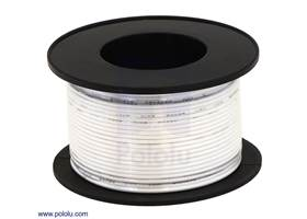 Stranded wire with white insulation (available in various gauges; 26 AWG spool shown)