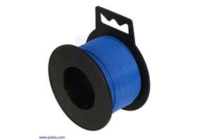 Stranded wire with blue insulation (available in various gauges; 26 AWG spool shown)